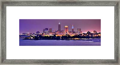 Cleveland Skyline At Night Evening Panorama Framed Print by Jon Holiday