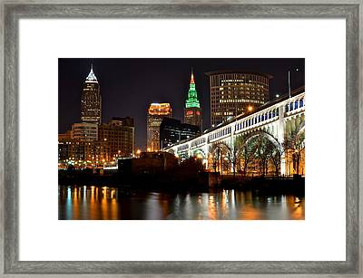 Cleveland Skyline At Night Framed Print by Frozen in Time Fine Art Photography