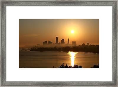 Cleveland Skyline At Sunrise Framed Print