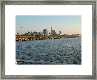Cleveland Skyline From Blimp To Stadium Framed Print by Liz Copic