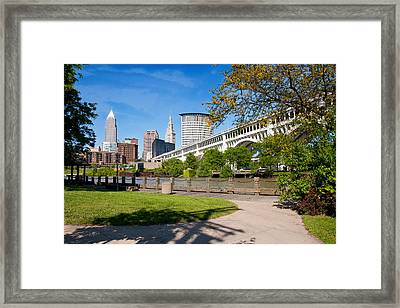 Cleveland Skyline From Riverbed Road Framed Print by Terri Harper