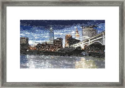 Cleveland Skyline - Typography Framed Print