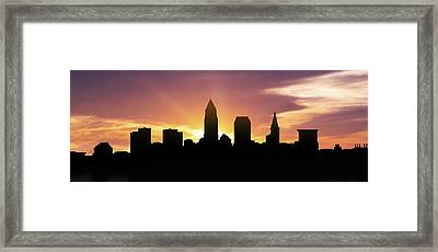 Cleveland Skyline Panorama Sunset Framed Print by Aged Pixel
