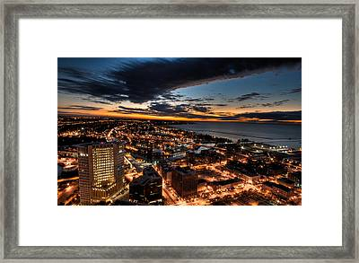 Framed Print featuring the photograph Cleveland Sunset by Brent Durken