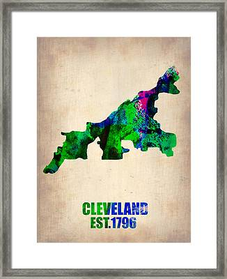 Cleveland Watercolor Map Framed Print