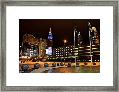 Clevelands Big Three From The Q Framed Print by Frozen in Time Fine Art Photography