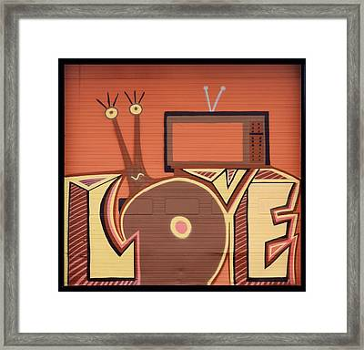 Clever Quirky Garage Door Graffiti Framed Print by Carla Parris