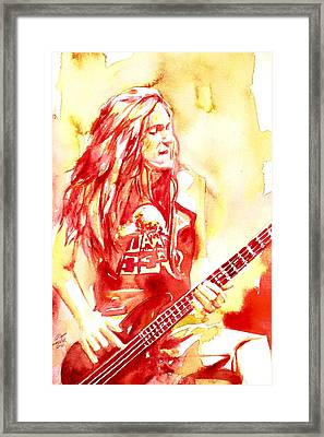 Cliff Burton Playing Bass Guitar Portrait.1 Framed Print by Fabrizio Cassetta