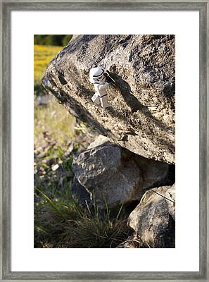 Cliff Hanger Stormtrooper Framed Print by Samuel Whitton