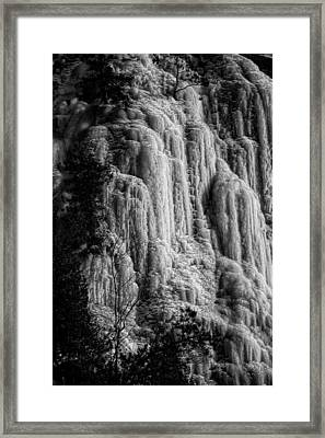 Cliff Ice In Black And White Framed Print