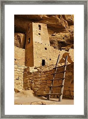 Cliff Palace Tower At Mesa Verde Nhs Framed Print by Gregory Ballos