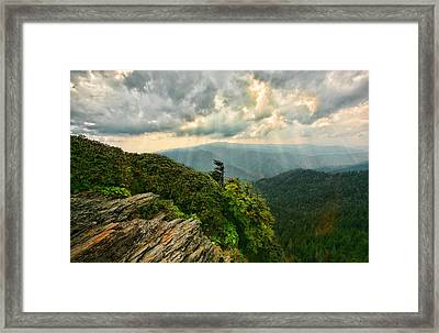 Cliff Tops At Mt. Leconte Gsmnp Framed Print