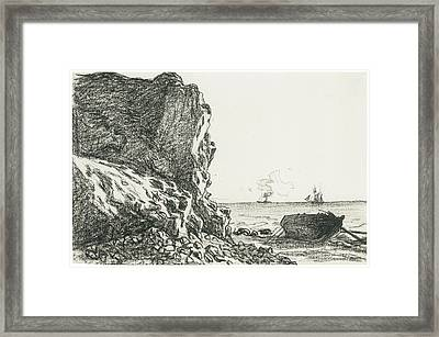 Cliffs And Sea Sainte-adresse Framed Print