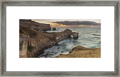 Cliffs And Tunnel Beach Otago New Framed Print by Colin Monteath