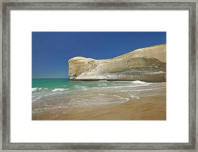 Cliffs At Tunnel Beach, Dunedin, South Framed Print by David Wall
