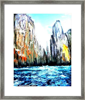 Framed Print featuring the painting Cliffs By The Sea by Bruce Nutting