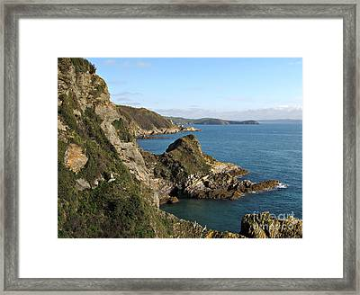 Cliffs In Cornwall Near Mevagissey Framed Print by Kiril Stanchev