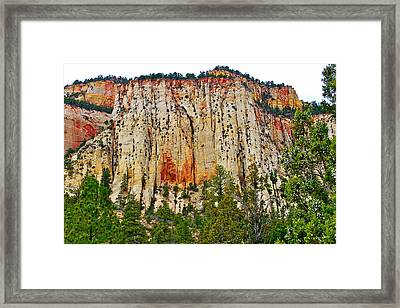 Cliffs Near Checkerboard Mesa Along Zion-mount Carmel Highway In Zion National Park-utah Framed Print