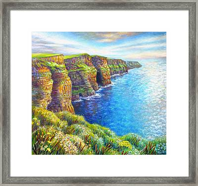 Framed Print featuring the painting Cliffs Of Moher by Nancy Tilles
