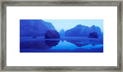 Cliffs On The Coast At Dawn, Meyers Framed Print