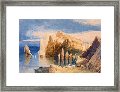 Cliffs On The North East Side Of Point Framed Print by John Sell Cotman