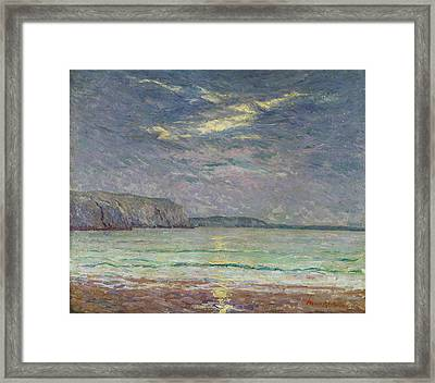 Cliffs With Setting Sun Oil On Canvas Framed Print