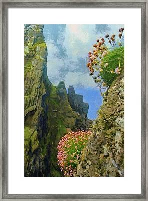 Cliffside Sea Thrift Framed Print