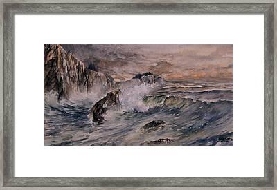 Cliffside Surf Framed Print