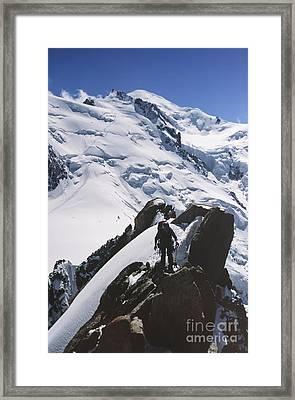 Climber On Mt Blanc In France Framed Print by Soren Egeberg