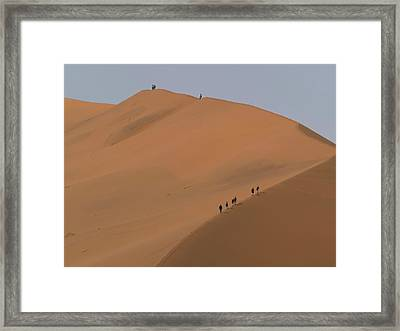 Climbers On Big Daddy Sand Dunes Framed Print