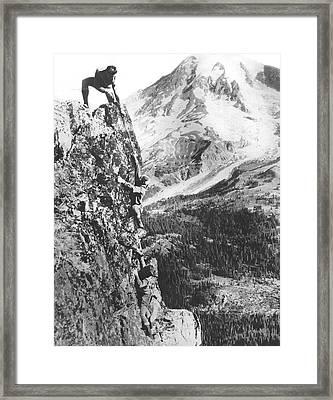 Climbers On Pinnacle Peak Framed Print by Underwood Archives