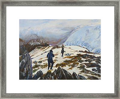 Climbers - Painting Framed Print by Veronica Rickard