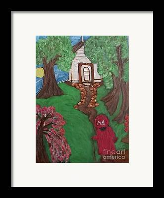 Black Lady Black Primitiveblack Art Mildred Chatman Folkart Louisiana Framed Prints
