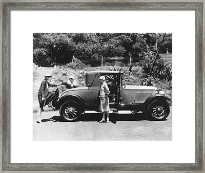 Climbing Into A Rumble Seat Framed Print