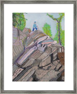 Climbing Out At Lookout Mt In Nc Framed Print