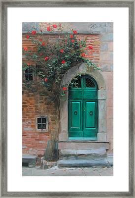 Climbing Roses Cortona Italy Framed Print by Anna Rose Bain