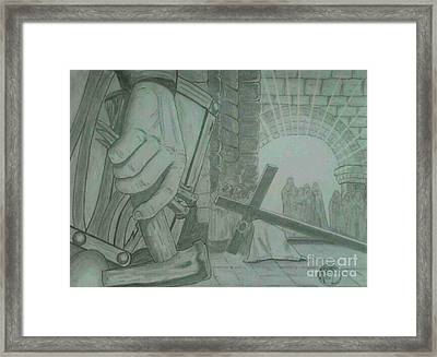 Clinging To The Cross Framed Print