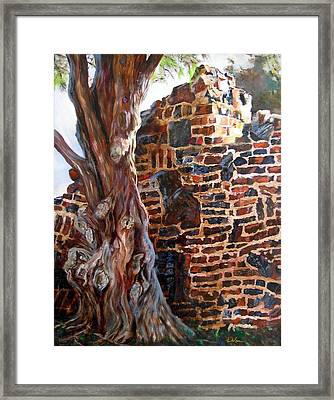 Clinker Wall Framed Print by LaVonne Hand