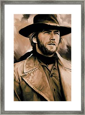 Clint Eastwood Artwork Framed Print by Sheraz A