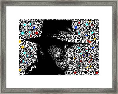 Clint Eastwood Cowboy Art Framed Print by Robert R Splashy Art Abstract Paintings