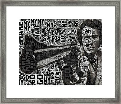 Clint Eastwood Dirty Harry Crop Framed Print by Tony Rubino