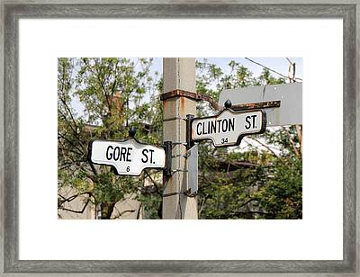 Clinton And Gore Framed Print by Andrew Fare