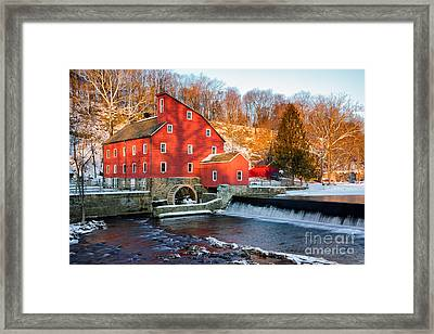 Clinton Mill In Winter Framed Print by Jerry Fornarotto