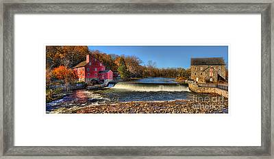 Clinton Red Mill House White Border Panoramic  Framed Print