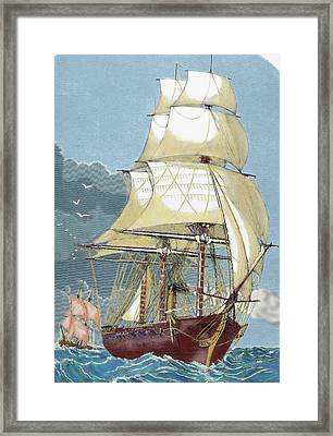 Clipper 19th-century Colored Engraving Framed Print