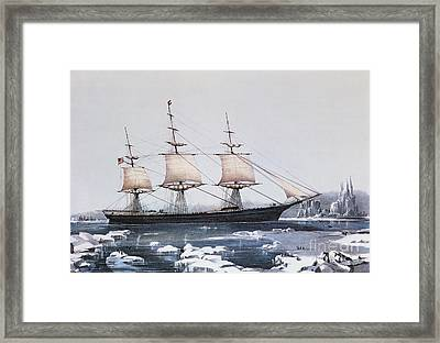 Clipper Ship Red Jacket In The Ice Off Cape Horn On Her Passage From Australia To Liverpool Framed Print by American School