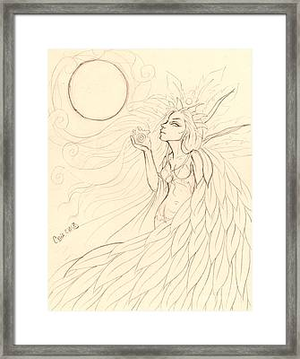 Cloak Of Feathers Sketch  Framed Print by Coriander  Shea