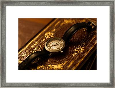 Clock And Book Framed Print