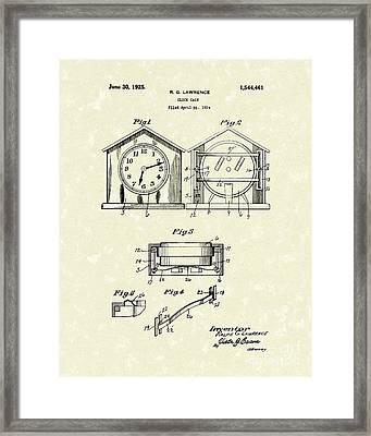 Clock Case 1925 Patent Art Framed Print by Prior Art Design