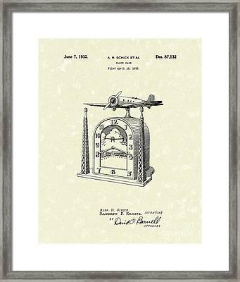 Clock Case 1932 Patent Art Framed Print by Prior Art Design